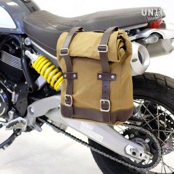 Bolso lateral de lona + Ducati Scrambler 1100 cuadro