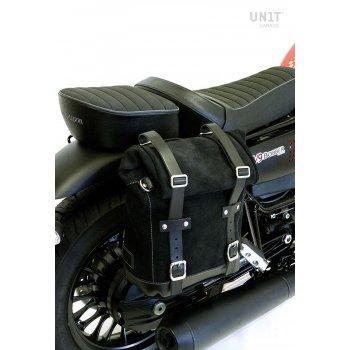 Bolsa lateral de lona + marco Guzzi V9 Bobber DX