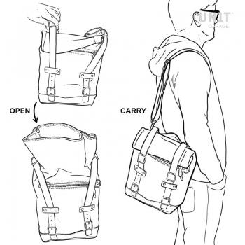 Bolsa lateral en corsé de cuero + marco universal