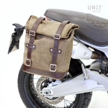 Bolsa lateral en piel dividida + marco Ducati Scrambler 1100