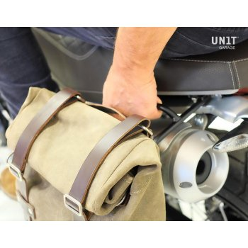 Bolsa lateral en piel dividida + marco izquierdo Ducati Scrambler 1100