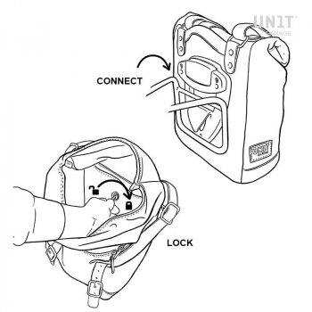 Bolsa lateral en piel dividida + marco Ducati Scrambler DS