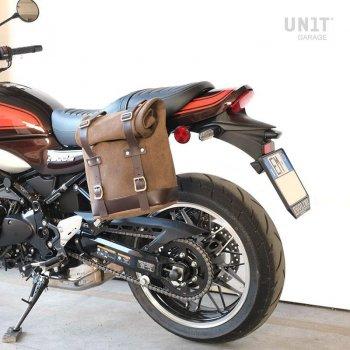 Bolsa lateral en piel dividida +marco izquierdo Kawasaki Z900RS