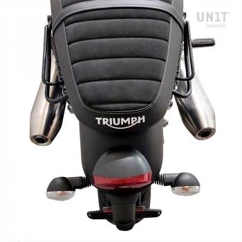 Bolso lateral dividido en cuero + armazón Triumph Street Twin 900 SX (2016 hasta ahora)