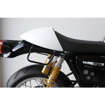 Bolso lateral dividido de cuero + Triumph Thruxton DX marco