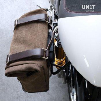 Bolsa lateral en piel dividida +marco izquierdo Triumph Thruxton SX