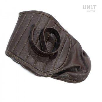 Funda de sillín en cuero marrón (sillín largo)