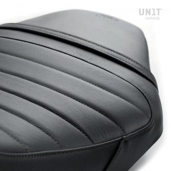 Funda de sillín en cuero negro (sillín largo)
