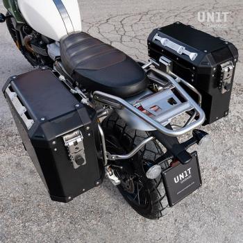 Par de bolsas de aluminio Atlas 47L + 41L con cuadros Triumph 1200 XC y XE