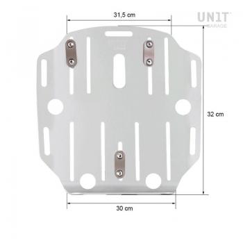 Porta bolsos en aluminio con frontal de cuero ajustable