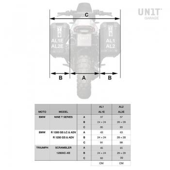 Triumph 1200 XC y XE cuadros para bolsas de aluminio Atlas